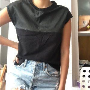Zara leather t shirt